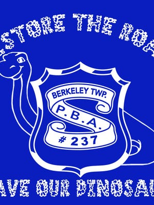 Berkeley PBA #237 is selling t-shirts for $20 to raise money to repair the Bayville dinosaur