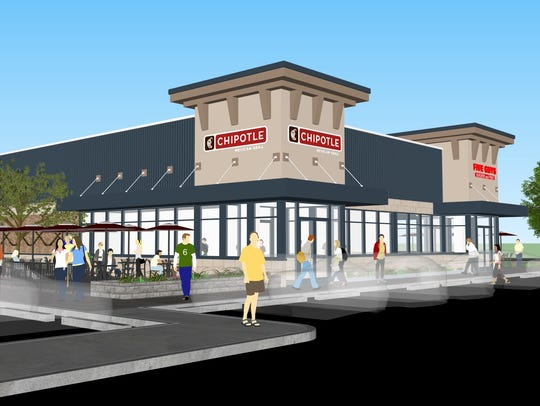A rendering depicts the completed Chipotle Mexican