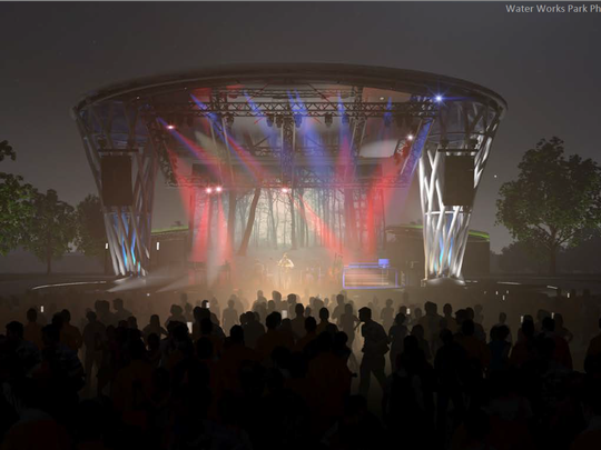 A view of the Water Works Park amphitheater, which can hold up to 8,000 people, at night. Construction started Tuesday.