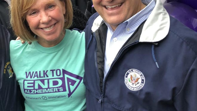 News 8 anchor Maureen McGuire and U.S. Rep. Joe Morelle, D-25th District, attend the Walk to End Alzheimer's.