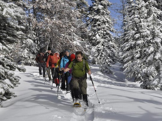 Mark Turner leads and Inland Northwest Hikers snowshoeing group around Sherman Peak in north central Washington.