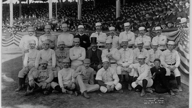 Old Hoss Radbourn, top left, flips the bird in a pre-game photo from 1886.
