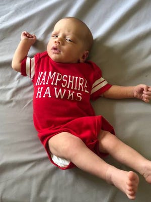 Easton James Owens, the first child of Hampshire assistant basketball Darah Owens and husband James, was born March 19 at Maury Regional Medical Center.