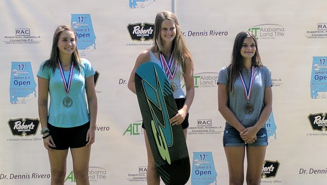(From left) Taylor Grathwohl, Kennedy Hansen and Kristin Baldwin stand on the podium at the Junior U.S. Open Water Ski Championships held last weekend at Ski Chaste Lake in Axis, Alabama.