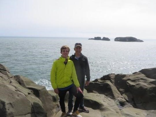 Jay Brinker and his son in Iceland.