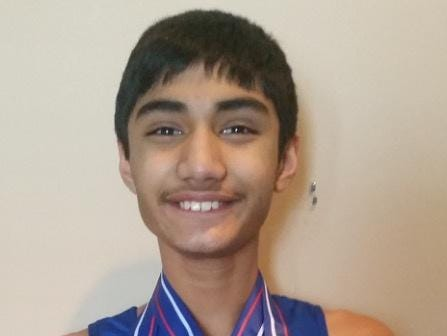 Commerce Township's Akshay Reddy earned plenty of medals at the AAU Youth Indoor National Championships.