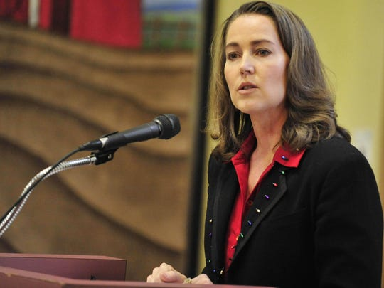 Cylvia Hayes speaks during the GovernorÕs State Employees Food Drive kick-off at the Marion-Polk Food Share in Salem on Wednesday, Dec. 10, 2014. This was Hayes' first appearance since KitzhaberÕs reelection campaign ended.