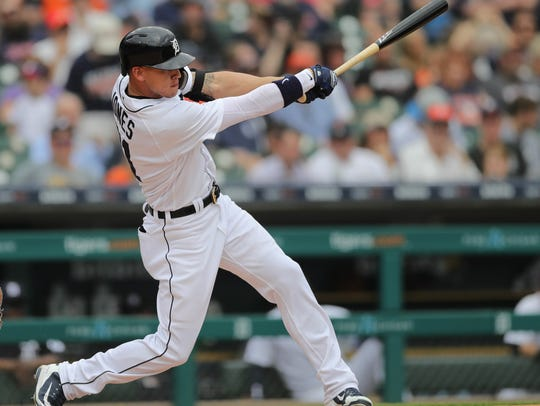 Tigers left fielder JaCoby Jones bats against Rays