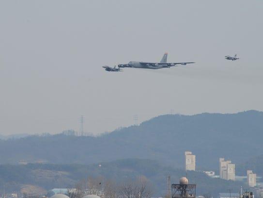 An American B-52 bomber flies over South Korea on Sunday,