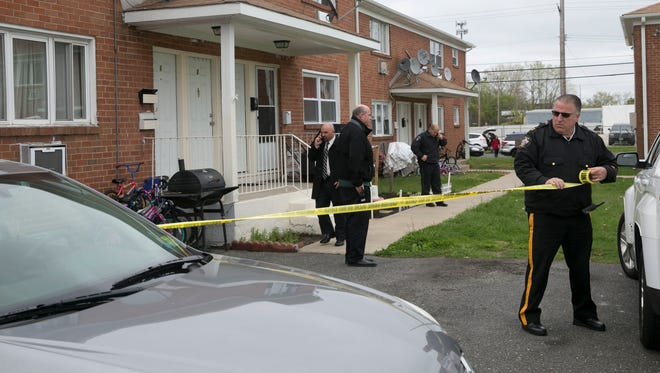 Police investigate a home invasion at an apartment complex at 65 Steiner Ave in Neptune City—May 5, 2016 -Neptune, NJ.-Staff photographer/Bob Bielk/Asbury Park Press