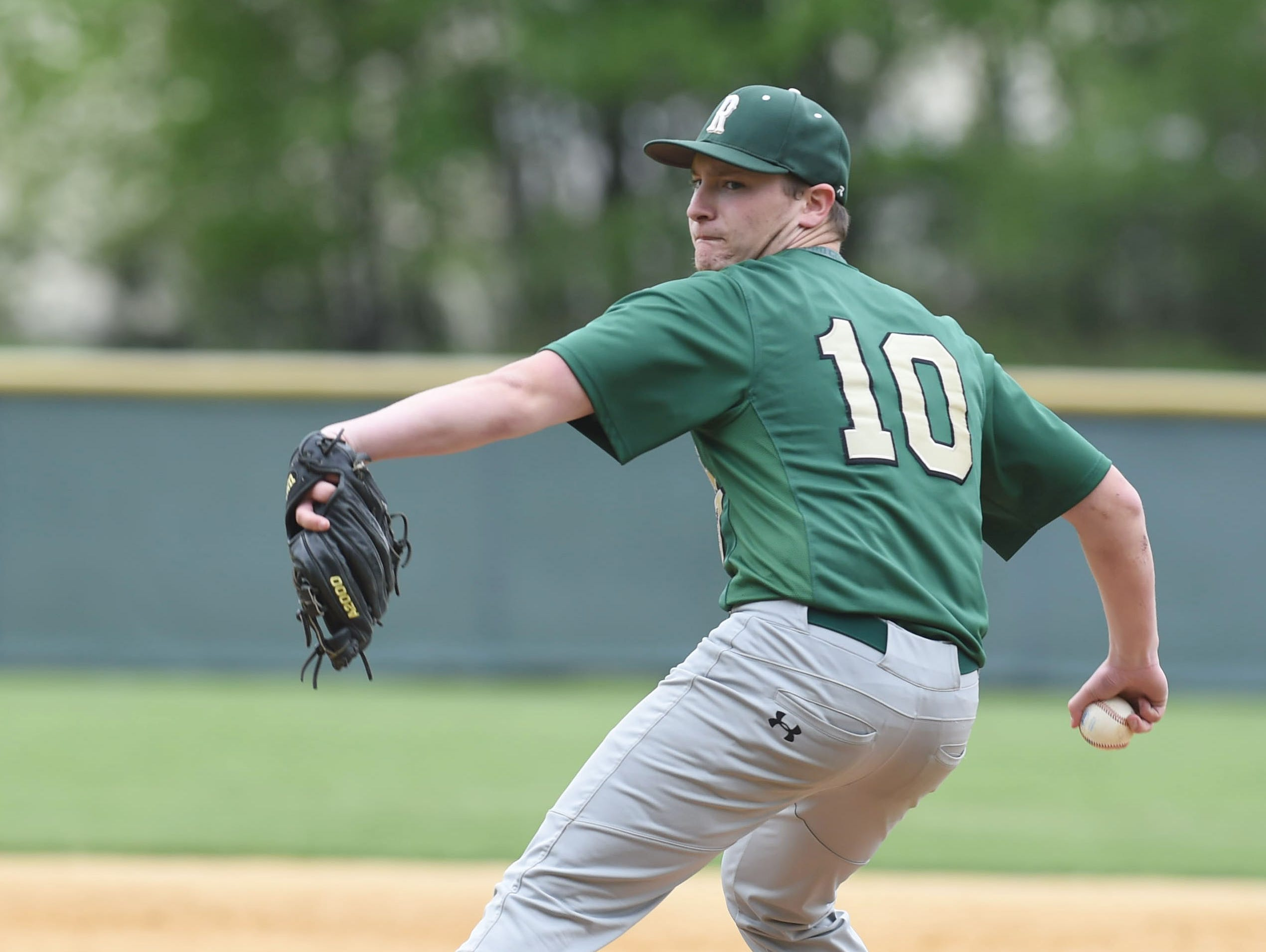 Roosevelt's Brandon Greenspan winds up a pitch during Thursday's game against Spackenkill.