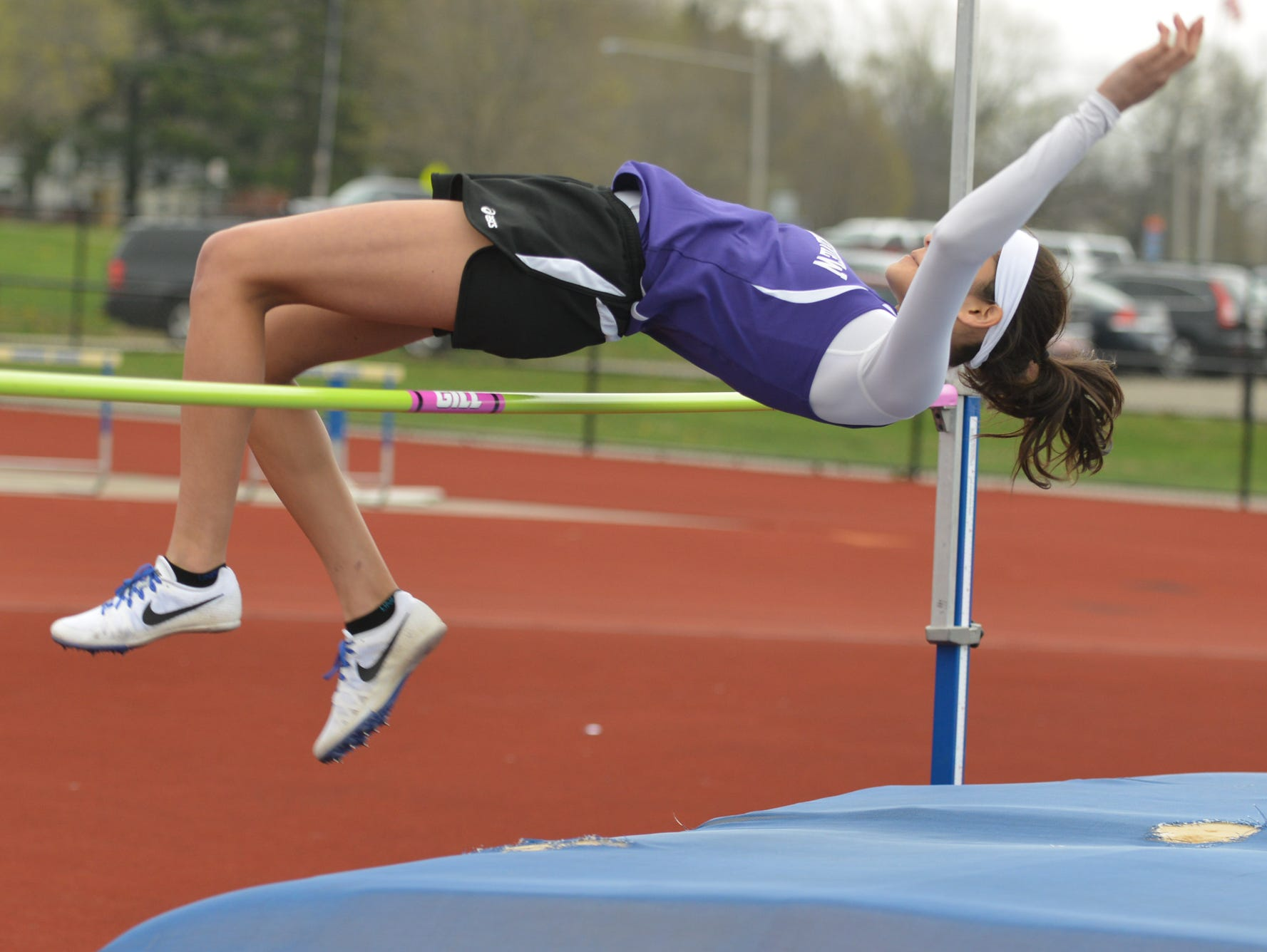 Lakeview's Rose Tecumseh participates in the high jump event during the 2016 All City Track Meet held at Harper Creek High School Friday afternoon.