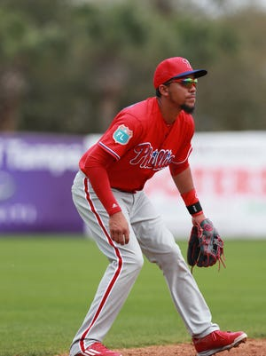 Phillies shortstop J.P. Crawford looks on from the field during the fifth inning against the New York Yankees at George M. Steinbrenner Field. Crawford was one of four players sent to minor league camp Monday.