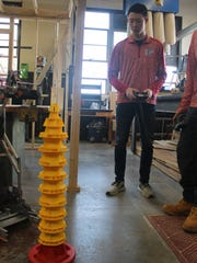 The team that stacked the most cones won the competition.