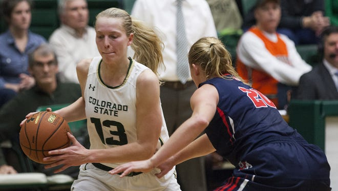 Colorado State's Ellen Nystrom (13) has been named the College Basketball Player of the Year by Sportswomen of Colorado.
