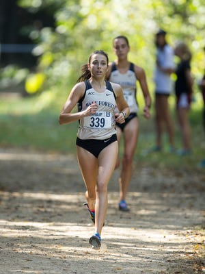 Wake Forest senior Samantha Jones, a Randolph graduate, competes at the Royals Cross Country Challenge last fall.  (Brian Westerholt/Sports On Film)