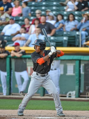 Former Centennial High and Vanderbilt standout Tony Kemp bats for the Fresno Grizzlies against the Salt Lake Bees during a 2015 contest. Kemp is rated as one of the top prospects in the Astros system. He is in the middle of a four-game series in Nashville.
