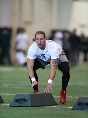 Michigan State's Riley Bullough on Pro Day.
