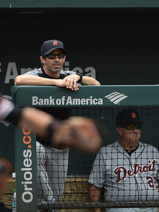 Detroit Tigers manager Brad Ausmus looks from the dugout as his team plays against the Baltimore Orioles in the fourth inning of a baseball game, Sunday, Aug. 6, 2017, in Baltimore. (AP Photo/Gail Burton)