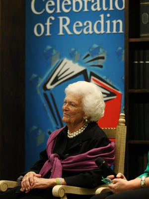 Barbara Bush listens to a testimonial given Friday, Feb. 15, 2013 during the 13th Annual Celebration of Reading at the Hyatt Regency Coconut Point Resort and Spa in Bonita Springs.