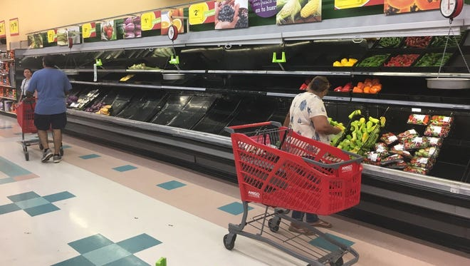 Very little produce at a grocery store in Puerto Rico.