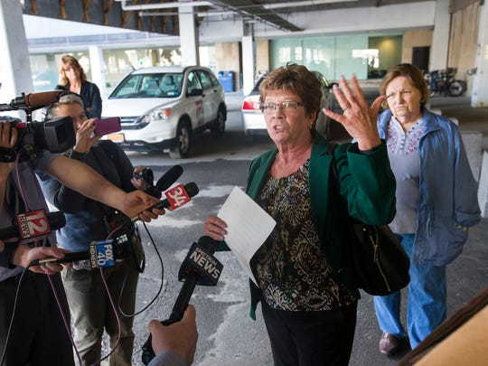 Former Broome County Executive Debbie Preston speaks to the media Monday after pleading guilty to one misdemeanor count of official misconduct in Binghamton City Court.