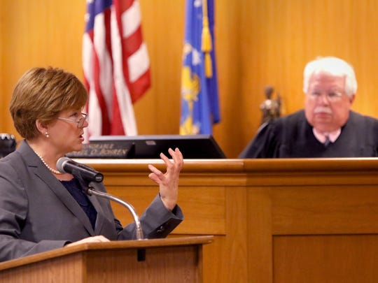 Defense attorney Maura McMahon makes a closing argument in the case of Anissa Weier before Waukesha County Circuit Judge Michael Bohren on Friday.