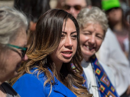 Reyna Castellanos of Visalia, speaks outside the office of Congressman Devin Nunes (R-Visalia) in Downtown Visalia on Tuesday, September 19, 2017. Castellanos is a DACA recipient and will not be eligible for renewal next year.