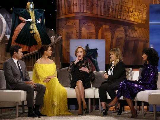 Carol Burnett, center, is joined, from left, by Bill Hader, Maya Rudolph, Amy Poehler and Tracee Ellis Ross on her CBS 50th anniversary special.