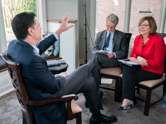 "Former FBI director James Comey sits for an interview with USA TODAY reporters Susan Page and Kevin Johnson ahead of the release of his book, ""A Higher Loyalty: Truth, Lies and Leadership."""