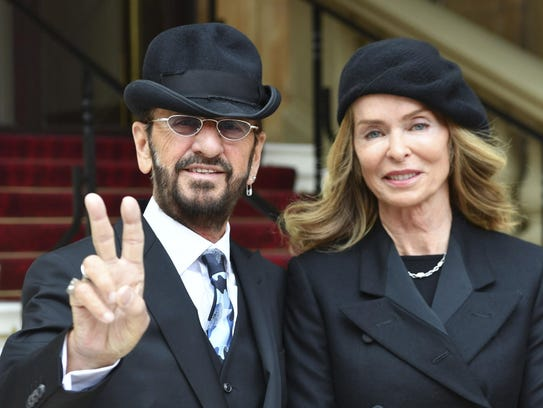 Musician Ringo Starr arrives with his wife Barbara