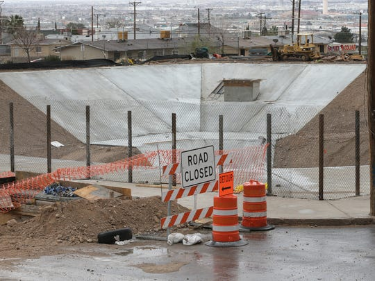 A stormwater retention pond nears completion near Alabama Street and Wheeling Drive in Central El Paso. El Paso water, sewer, and stormwater rates are rising to help fund similar projects and pay for other costs, El Paso Water officials say.
