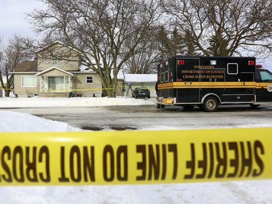 Yellow tapes fence around the scene of a shooting Saturday, Jan. 20, 2018, that killed two persons in Abbotsford, Wisc. T'xer Zhon Kha/USA TODAY NETWORK-Wisconsin