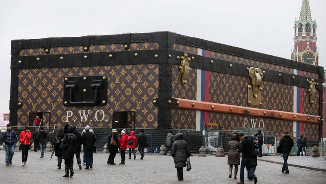 A giant Louis Vuitton trunk on Red Square in Moscow was ordered removed Nov. 27, 2013, a day after the temporary pavilion was erected for a planned luggage show by the French fashion house.