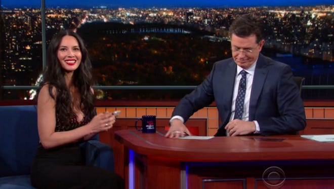 """Olivia Munn stopped by """"The Late Show with Stephen Colbert"""" on Thursday."""