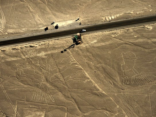 Aerial view of geoglyphs at Nazca lines on Dec. 11,