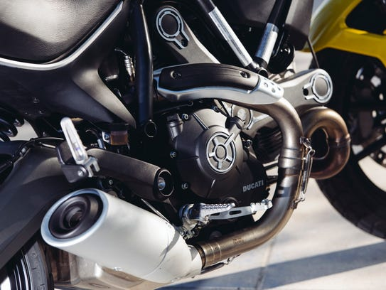 The bike features an 803cc L-twin air-cooled engine.