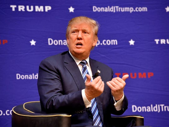 Donald Trump speaks during a town hall meeting at the
