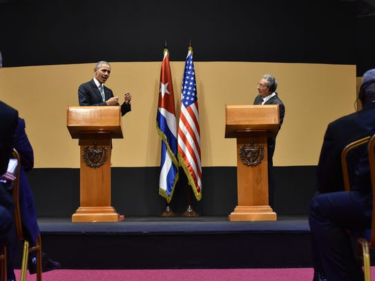 Cuban President Raul Castro and President Obama deliver