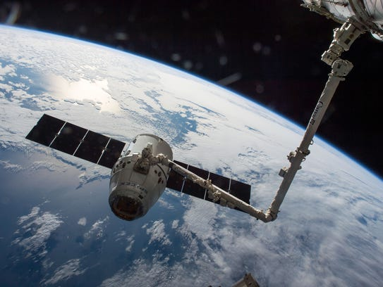 The SpaceX Dragon capsule seen after its arrival at