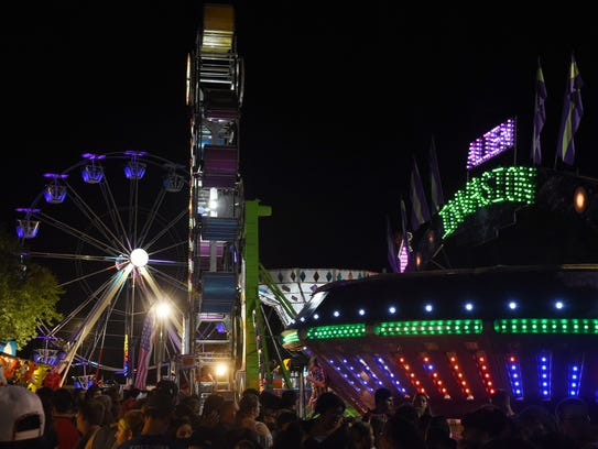 Ulster County Fair rides were illuminated on the first