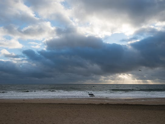 View of clouds over the water at Rehoboth Beach.