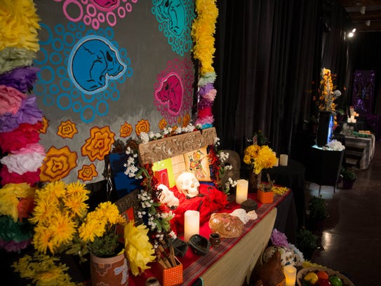 Art pieces are pictured at the Ofrenda Exhibition at
