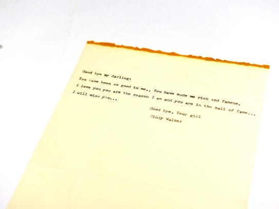 The letter Cindy Walker wrote to her songs before her