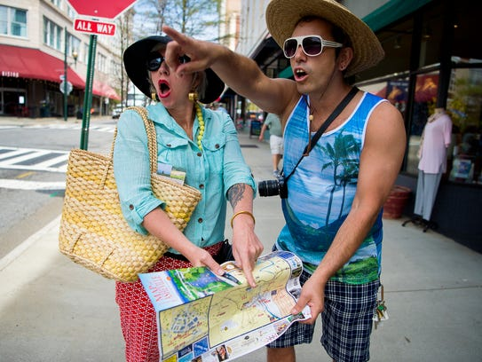 LaZoom owners Jen and Jim Lauzon, acting as lost tourists