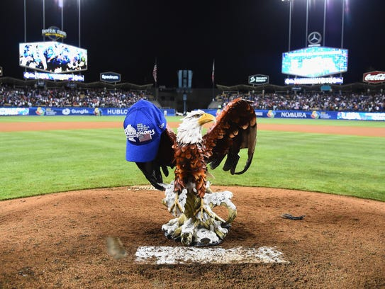 Team USA's bald eagle statue sits atop the Dodger Stadium