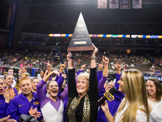 LSU's women's gymnastics team, led by coach D-D Breaux,