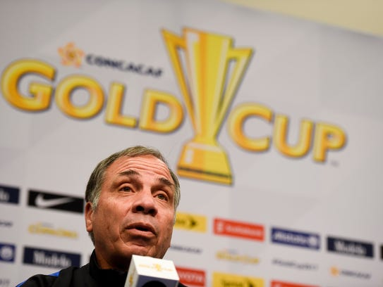 US soccer head coach Bruce Arena talks with the media