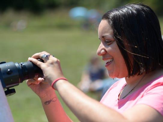 Latasha Miles of Stuarts Draft uses her smartphone