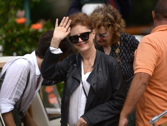 Actress Susan Sarandon leaves the Excelsior Hotel during